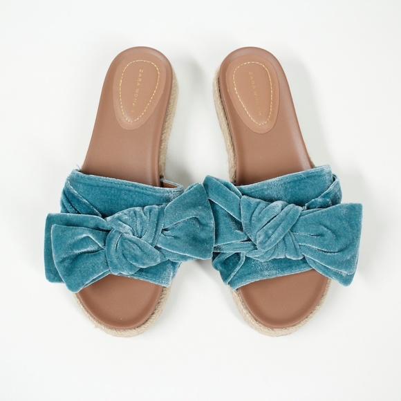 Zara Velvet Bow Sandals Slides Teal Size 7